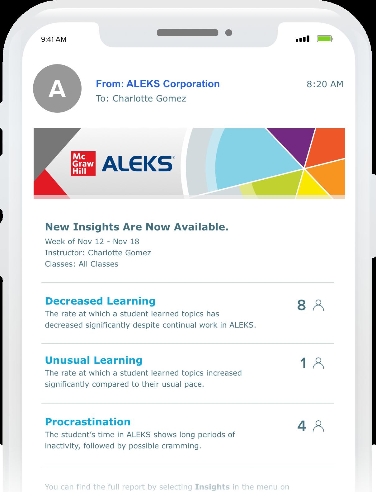 aleks website in phone