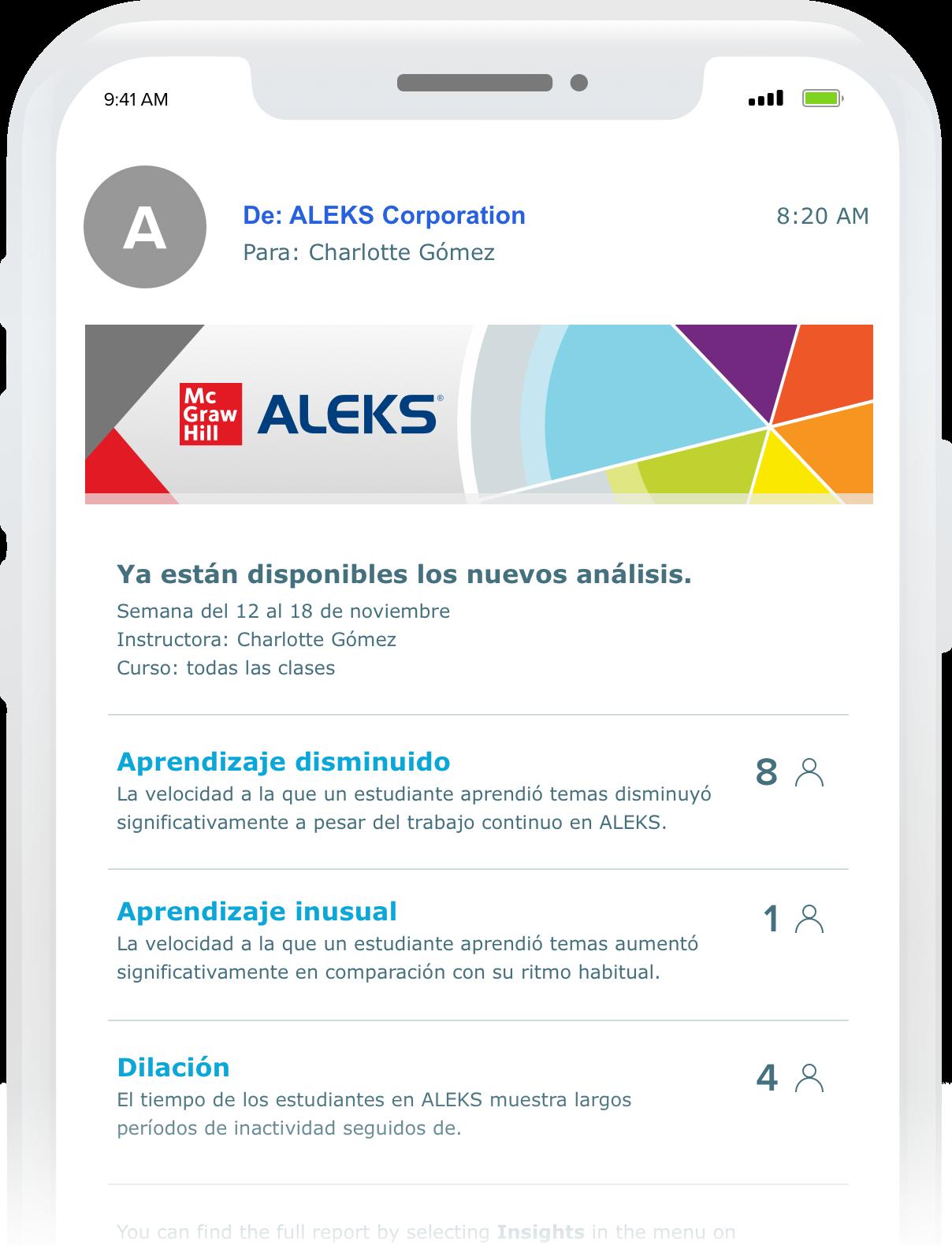 sitio web de Aleks en el teléfono