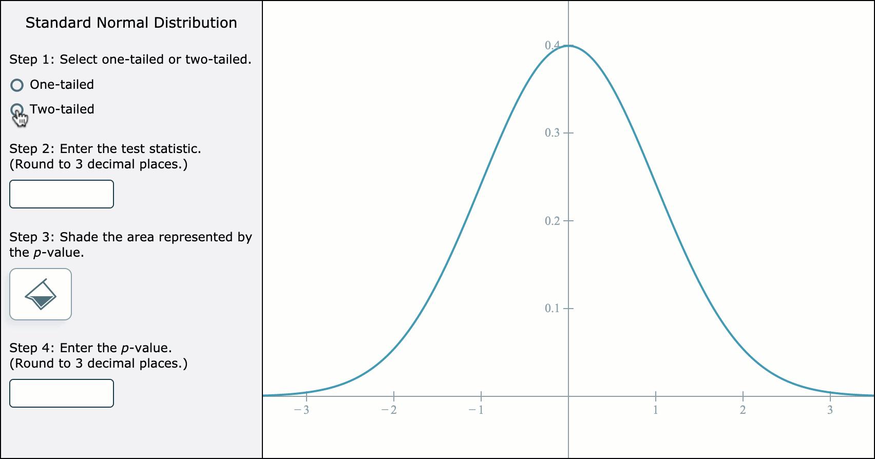 Standard Normal Distribution tool